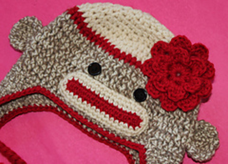 Free Sock Monkey Hat W Flower Crochet Pattern Knitting