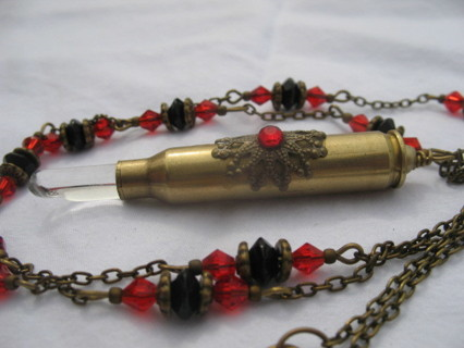 Real Crystal Bullet Shell Necklace! Must See!