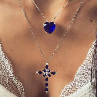 Fashion Double-layered Cross Heart Rhinestone Necklace Pendant Women Jewelry NEW