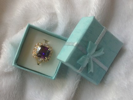RING AMETHYST WHITE CZ NATURAL GEMSTONE  SIZE #9 NEW