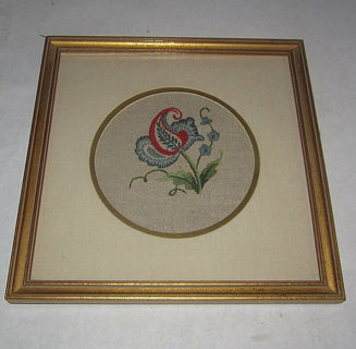 vintage folk art needle point embroidery quality frame matt glass red blue tan