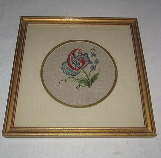 vintage folk art needle point embroidery quality frame matt glass red blue tan