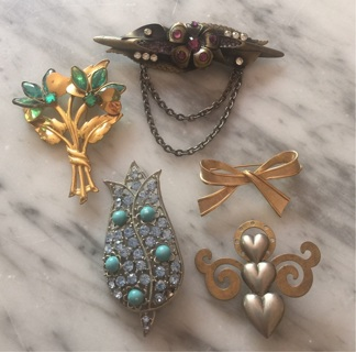 5 GORGEOUS Pins Vintage & Newer Treska Rhinestones