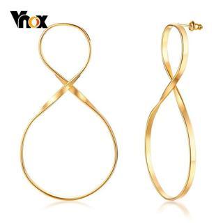 Vnox Rock Big Infinity Earrings for Women Gold Tone Stainless Steel Long Dangle Earring Femme brin