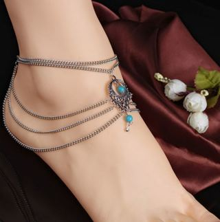 1 NEW Turquoise Beads Anklet Tassels Silver Chain Barefoot Ankle Bracelet Jewelry
