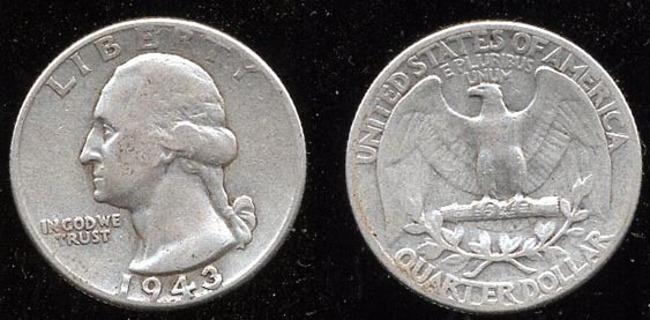 1943 Washington Quarter 90% Silver