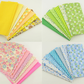 7pcs Assorted Set Bundle Floral Plain Quilting Patchwork Cotton Fabric for DIY Craft (20x25cm)