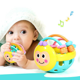 Baby Funny Soft Rubber Bee Hand Bell Rattle Toy Infant Early Educational Toy