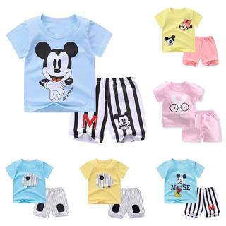 New Baby Boy Summer Mickey Clothes Infant Newborn Boy Girl Clothing Set Sports Tshirt+ Shorts Suit