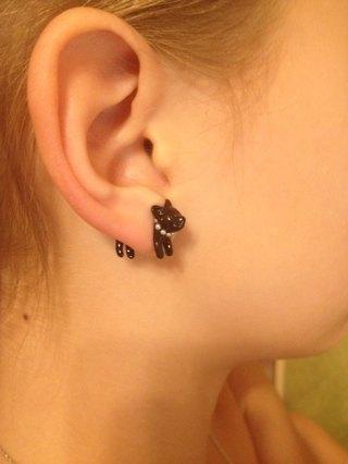 Black Cat Stud Earrings For Women Fashion Jewelry