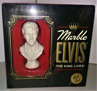 """2008 EPE 3"""" marble Elvis Presley bust with 64-page HC 4 3/4"""" x 4 3/4"""" Elvis Almanac"""
