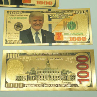 [GIN FOR FREE SHIPPING] Donald Trump Gold Plated US $1000 Dollar Commemorative Coin Banknote