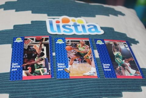 (3) 1991-1992 Fleer Basketball Cards Seattle Supersonics Kemp Payton