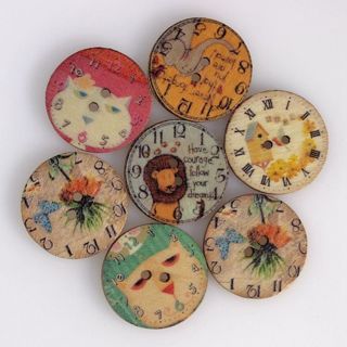 50PC Wholesale Button DIY Costume Sewing Clock Pattern 2-Hole Flat Button