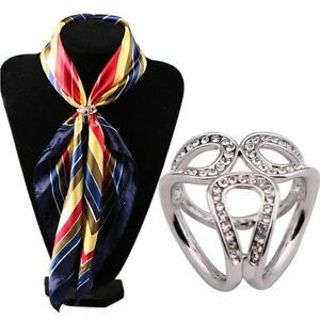 Wholesale Jewelry Flower Silk Tricyclic Buckle Crystal Scarf Buckle Ring Holder
