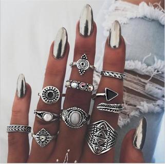 10Pcs/Set Women Lady Boho Vintage Silver/Gold Punk Knuckle Finger Midi Rings NEW