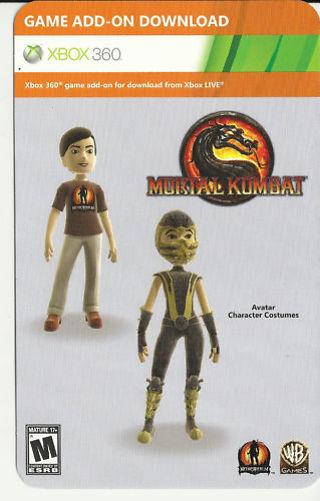 free rare xbox 360 mortal kombat dlc code for scorpion avatar