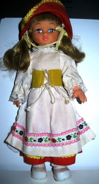 Vintage Beautiful 1970s Little Plastic Doll With Outfit and Shoes