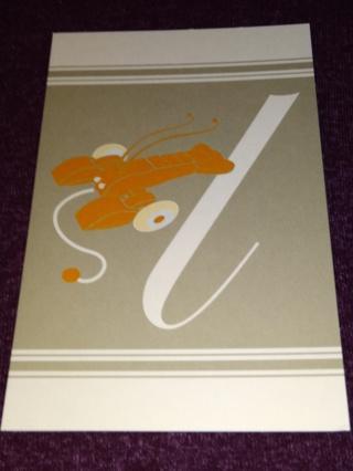 Alphabet Greeting Card - Lobster (l)