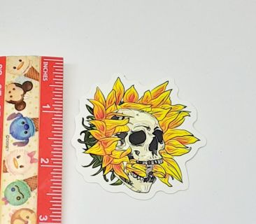 Sunflower Skull large sticker decal NEW