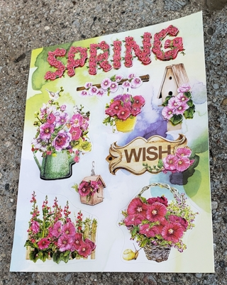 3 D POP UP SPRING WISH AND FLOWERS STICKERS