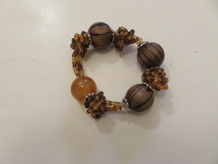 Stretch Bracelet Large Brown Beads & Seed Beads New