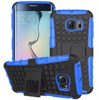 NEW SAMSUNG GALAXY s6 Blue HYBRID Case Scratch-Resistant Shock Absorbent Tire non slip Grip Stand