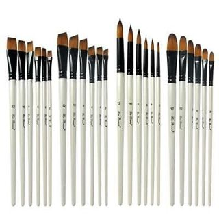 6PCS Nylon Wooden Handle Watercolor Paint Brush Pen Oil Art Paint Brushes