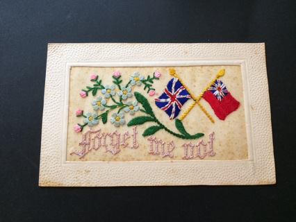 LOWER PRICE: Lovely WW1 Embroidered Postcard - British Flags