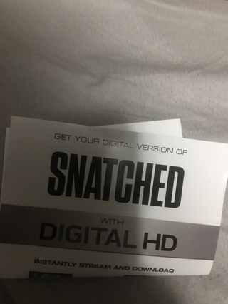Code for digital movie Snatched. Hd