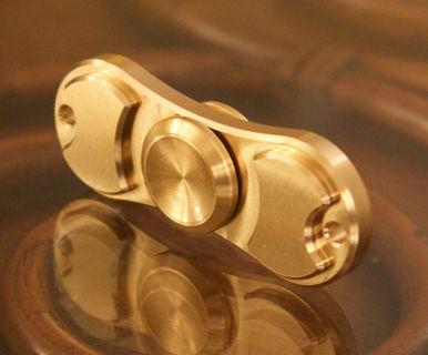 Gold Hand Fidget Brass Copper Metal Spinner Focus Toy EDC Torqbar - Kids/Adults