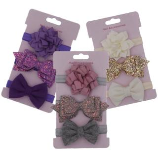 3pcs/set Elastic Flower Headbands for Baby Girls Hair Accessories Baby Girls Bows Nylon Turban Ski