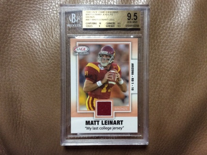 GRADED MATT LEINART GAME JERSEY 2006 Sage Football Card USC TROJANS ARIZONA CARDINALS BGS 9.5 GEM