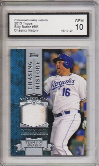 Free Billy Butler 2013 Topps Chasing History Relic Card