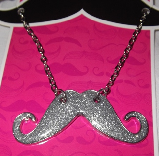 """FUN 16"""" Necklace with a SPARKLY MUSTACHE PENDANT!  new!"""