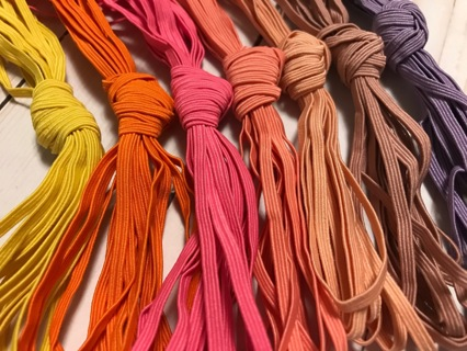 Lot 88 yards 3mm wide colored stretch elastic trim for sewing great for masks 3mm wide 20 Colors