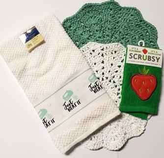 "Crochet 2 - 9"" Dish Cloth/Wash Cloths/1 Dish Towel 1 SCRUBBIE"
