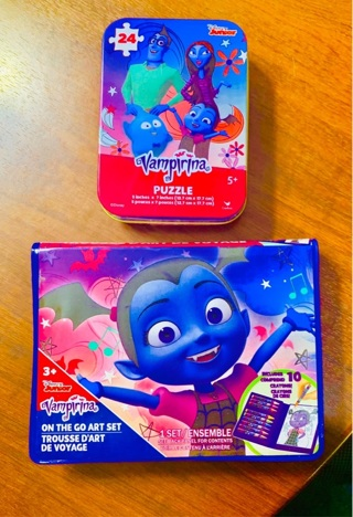 DISNEY Vampirina Lot 2 HALLOWEEN TREATS & GOODS On the Go Crayons and Coloring Pages & Tin Puzzle