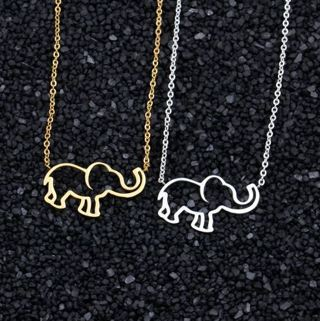 Stainless Steel Gold Chain Elephant Pendant Necklaces For Women Jewelry