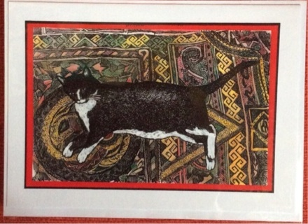 "TUXEDO CAT ON RUG  - 5 x 7"" art card by artist Nina Struthers - GIN ONLY"