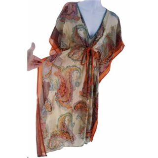 Rhona Sutton Women summer tunic Sz S/M Colorful made in India free ship