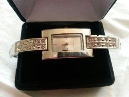 Gorgeous Silvertoned Designer Watch with Gemstones