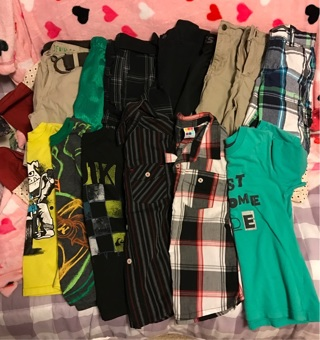 Boys size 5 to 5t lot of clothes, 8 pairs shorts, 6 pairs of shirts, 1 pair of crocs