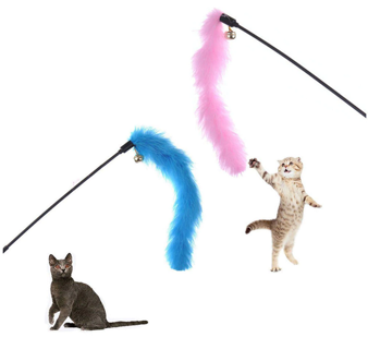 Toy Colorful Turkey Feathers Tease Cat Stick Interactive Cat Toy Feather329963893780