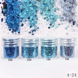 Nail Powder 1 Jar/Box 10ml 3D Nail 4 Light Sky Blue Mix Nail Glitter Powder Sequins Powder For Nai