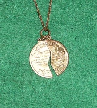 Free vintage 2 piece pendant mizpah coin 14kt gold filled necklace vintage 2 piece pendant mizpah coin 14kt gold filled necklace aloadofball Choice Image