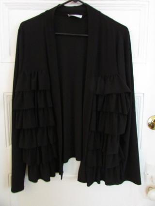 Pre Owned Black Ruffle Front Open Cardigan-Lycra Knit- Sz L
