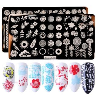 1pcs Flamingo Summer Nail Stamping Plates Lace Flowers Ice Cream Design Stainless Steel Manicure N