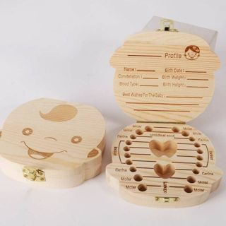 [GIN FOR FREE SHIPPING] Wooden Baby Kids Tooth Storage Box