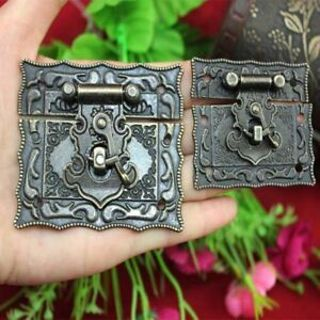 Cabinet Bronze Tone Hardware 2 Pcs Antique Metal Buckle Hasps Style